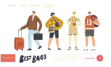 Tourists with Different Luggage Bags Landing Page Template. People Prepare to Go on Vacation, Travel with Suitcases Stock Illustratie