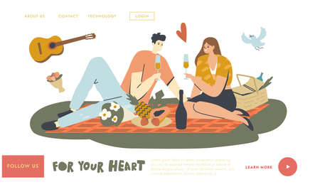 Happy Couple Characters Dating Outdoors on Picnic Landing Page Template. People Drink Champagne. Declaration of Love, Young Man Playing Guitar, Romantic Relations, Meeting. Linear Vector Illustration