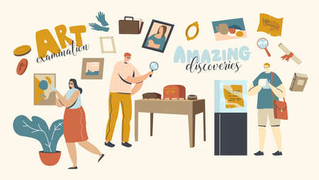 Art Expertise, Masterpiece Examination Concept. Male and Female Characters Looking on Museum Exhibits or Showpieces. Professional Examination of Cultural Objects. Linear People Vector Illustration