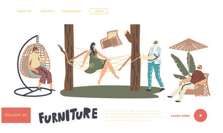 Outdoor Decor Landing Page Template. Characters Relax on Wicker Furniture Outdoors. Woman Sitting on Suspended Armchair