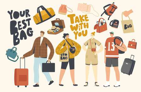 Tourists Characters with Different Luggage Bags. People Prepare to Go on Summer Vacation, Travel on Resort with Suitcase