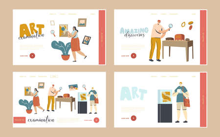 Art Expertise, Masterpiece Examination Landing Page Template Set. Characters Looking on Museum Exhibits or Showpieces. Professional Examination of Cultural Objects. Linear People Vector Illustration