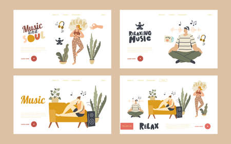 People Meditating Listen Relaxing Music at Home Landing Page Template Set. Characters Sit in Yoga Pose, Lying on Sofa Stock Illustratie