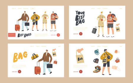 Tourists Characters with Different Luggage Bags Landing Page Template Set. People Prepare to Go on Vacation, Travel