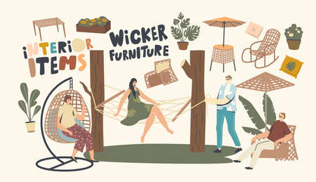 Characters Relax on Wicker Furniture Outdoors. Woman Sitting on Suspended Armchair and Hammock, Rocking Chair, Table