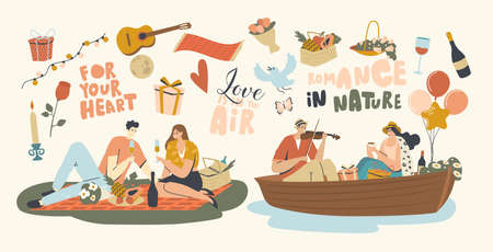 Happy Couple Characters Dating Outdoors on Picnic and Floating on Boat. Declaration of Love, Young Man Playing Violin