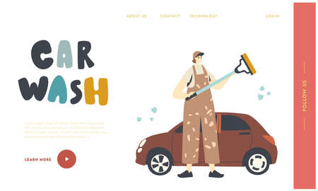 Cleaning Company Employee Work Landing Page Template. Female Character Work at Car Wash Service. Worker Wearing Uniform