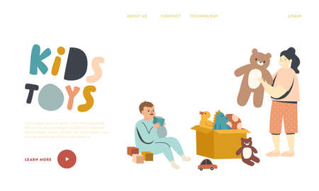 Couple of Little Boy and Girl Playing with Toys Sitting on Floor Landing Page Template. Cute ChildrenBrother and Sister