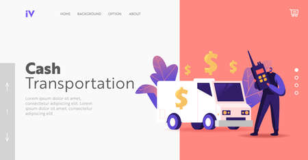 Bank Convoy Currency Collection from ATM Landing Page Template. Banking, Armed Cash-in-transit Guard Character Collector