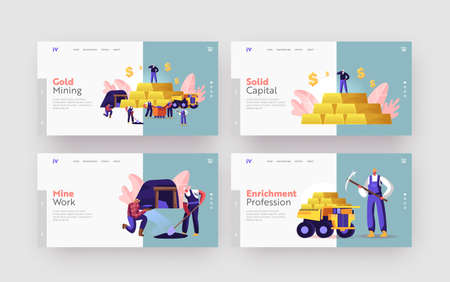 Gold Mining Landing Page Template Set. Miner Characters Working on Quarry, Transport and Technique. Extraction Industry Illustration