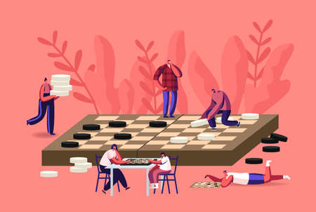 Boardgame Intelligence Recreation, Leisure or Family Hobby Concept with Tiny Characters Playing Huge Checkers Board Game