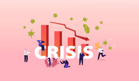 Coronavirus Outbreak and Crisis Concept, Financial Crash. Stock Market Chart Fall and Upset Business Characters Poster Иллюстрация