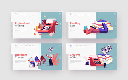 People Enjoy Reading Romantic Literature and Writing Poetry or Prose Landing Page Template Set. Tiny Characters at Books Vecteurs