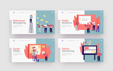 Advertising Placement Landing Page Template Set. Tiny Characters Sticking Papers with Ads and Announcement