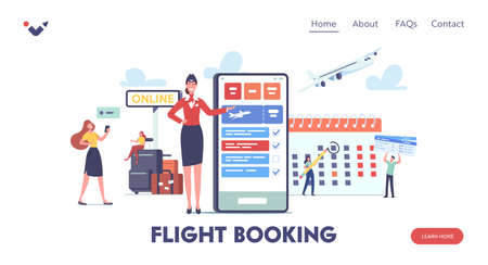 App for Tourists Landing Page Template. Characters Go Travel Booking Tickets Using Mobile Phone. Passengers Book Trip