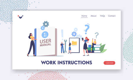User Manual Landing Page Template. People Read Book with Instructions for Equipment. Characters with Some Office Stuff Çizim