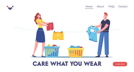 Household Landing Page Template. Male and Female Character Hanging Clean Wet Clothes on Rope for Drying in Laundry