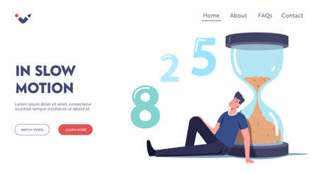 Man Waiting in Lobby Landing Page Template. Long Wait, Male Character in Hall Sit and Sleeping at Huge Hourglass Vector Illustratie