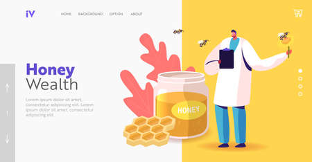 Apiary Healthy Production. Organic Natural Sweet Food Landing Page Template. Doctor Character Hold Flower with Bee
