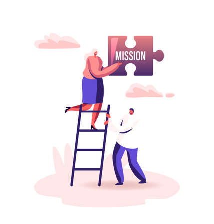 Core Values Concept. Tiny Male Female Businesspeople Characters Stand on Ladder Holding Huge Puzzle Piece Mission  イラスト・ベクター素材