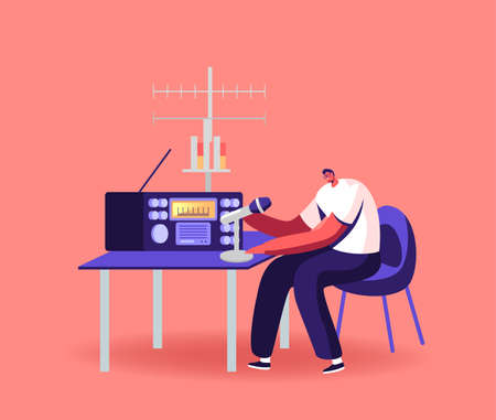 Character Work on Radio Concept. Male Radio Dj Amateur Character Speak to Microphone Broadcasting Program on Air Vektorgrafik