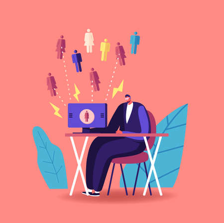 Inbound Marketing, Financial Goals Achievement Concept. Businessman Character Working on Computer Attract Customers