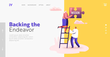 Core Values Landing Page Template. Tiny Businesspeople Stand on Ladder Holding Huge Puzzle with Mission Basic Principle