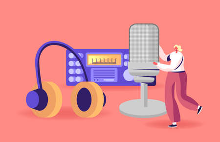 Tiny Female Character with Huge Microphone Headset near Radio Transmitter Broadcast Podcast or Audioprogram Livestream