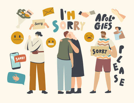 Male Female Characters Apologize. People Say Sorry, Hugging Each Other and Ask to Forgive for Mistake or Offensive Words Illustration