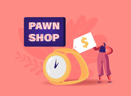Tiny Female Character near Huge Gold Watch in Pawn Shop Concept. Customer Buy or Sell Precious Metal, Jewelry