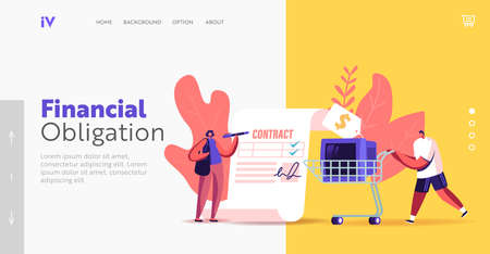 Pawnshop Landing Page Template. Tiny Female Character Signing Huge Paper for Buy or Sell Thing. Man Push Trolley with Tv
