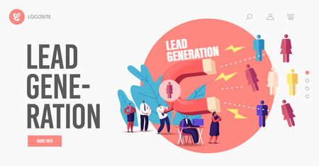 Lead Generation Landing Page Template. Tiny Businessman Character Attracting Clients with Huge Magnet Attract Income Vektoros illusztráció