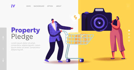 Characters in Pawn Shop Landing Page Template. Tiny Man with Golden Coins in Shopping Trolley Buying Photo Camera