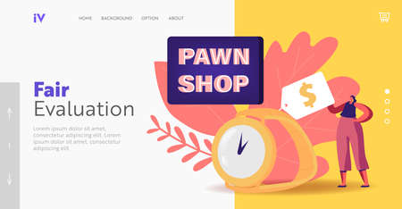 Ancient Second Hand Things Landing Page Template. Tiny Female Character near Huge Gold Watch in Pawn Shop Concept
