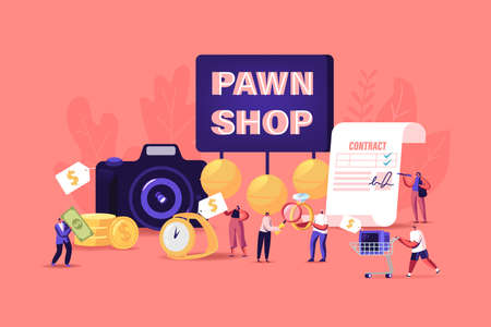 Characters Bring Jewelry and Technique Scrap to Pawn Shop Concept. Buy and Sell Precious Metals Jewels, Ancient Coins