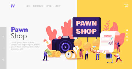 Characters Bringing Scrap to Pawn Shop Landing Page Template. Customers Buy and Sell Ancient Precious Metals, Jewels
