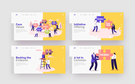 Core Values Landing Page Template Set. Tiny Businesspeople Characters Holding Huge Puzzle with Basic Business Principles Vector Illustration