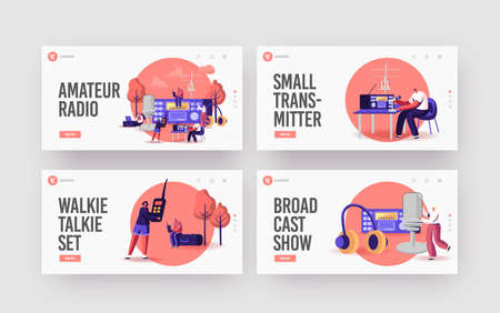 Tiny Characters Radio Amateurs at Huge Receiver Landing Page Template Set. Men and Women Using Walkie Talkie, Program