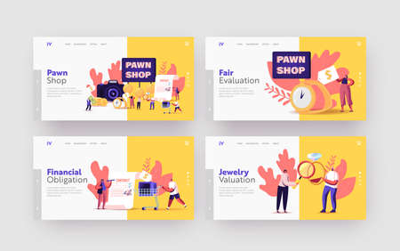 Characters Bringing Scrap to Pawn Shop Landing Page Template Set. Customers Buy and Sell Precious Metals or Jewels