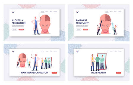 Plastic Surgery, Hair Loss Landing Page Template Set. Tiny Doctor at Huge Male Head Making Hair Transplantation