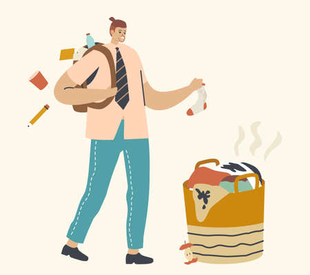 Untidiness Concept. Sloppy Male Character in Hipster Clothes and Hairstyle with Things Fall down of Backpack