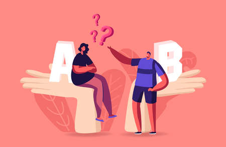 Tiny Male and Female Characters Sit on Huge Palms Make Decision Choose Between A or B Variants. Pros or Cons, Advantages