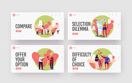 Choice, Pros and Cons Landing Page Template Set. People Make Decision. Tiny Characters at Huge Hands with A and B