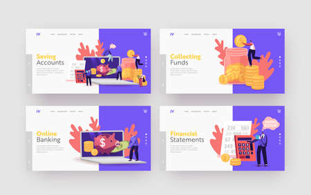 Money Savings Account, Budget or Deposit Landing Page Template Set. Tiny Characters Put Golden Coins in Huge Piggy Bank