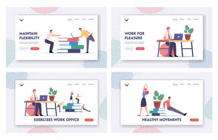 Office Workers Exercising at Workplace Landing Page Template Set. Characters Doing Workout at Work Place Squatting