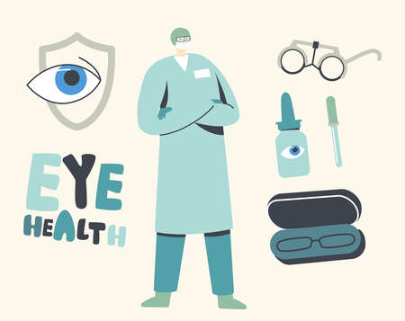Eyes Protection Concept. Doctor Prescript Eyeglasses and Solution for Vision Protection. Eyes Diseases Diagnostics Ilustracja