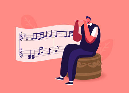 Tiny Male Character Sitting on Huge Music Box Playing Flute with Notes on Stave. Vintage Musical Instrument or Toy