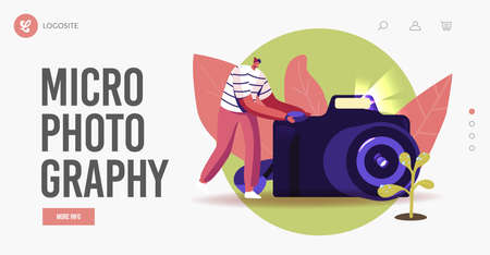 Macro Photography Hobby Landing Page Template. Man Photographer Shoot Water Drops on Flower Leaves on Photo Camera