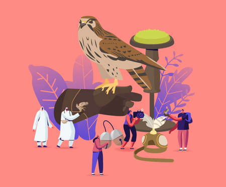 Falconry Concept. Tiny Male and Female Characters Holding Professional Equipment for Falcon Training. Arabian Sport
