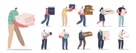 Set of People with Different Papers. Male and Female Characters Holding Pile of Waste Paper, Carton Boxes and Books Illustration
